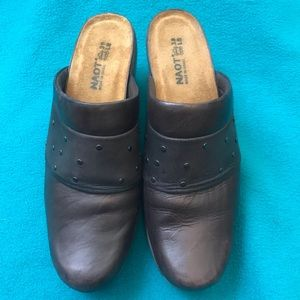 NAOT Brown Leather Slides with Studded Band Detail